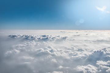 Cloud view through airplane window.