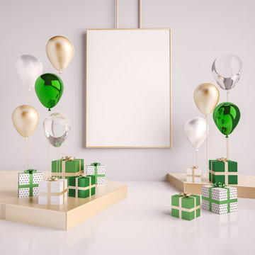 Interior mock up scene with green and gold gift boxes and balloons. Realistic glossy 3d objects for birthday party or promo posters or banners. Empty space for poster size design element.