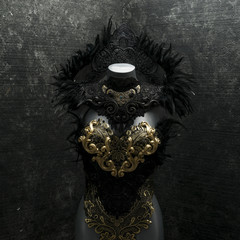 Mysterious gothic style handmade dress with black lace fabrics and piezsa in gold and silver
