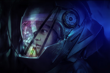 child of the future with space helmet and colored LEDs inside the helmet