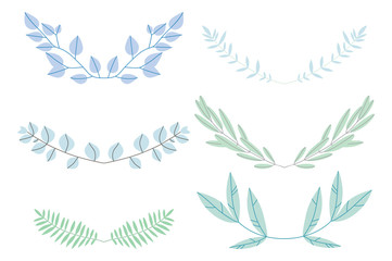 Pack of hand drawn simple pastel vector flowers and plants.