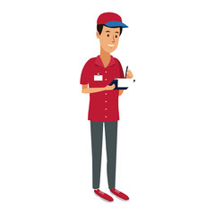 delivery man with clipboard and pen writing logistic vector illustration