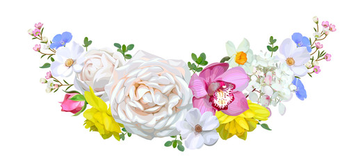 Garland with roses and orchid
