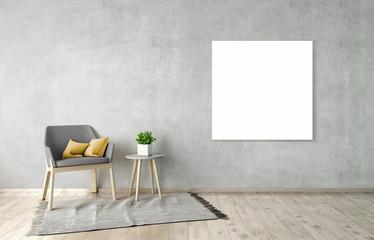 3D illustration of poster frame template, interior mockup
