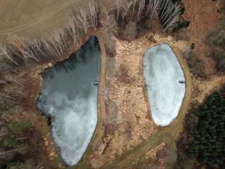 Drone picture: Above two freezing ponds