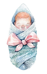 A swaddled baby. Watercolor illustration isolated on a white background.