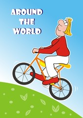 Lady goes around the world on the bicycle, funny postcard, vector illustration