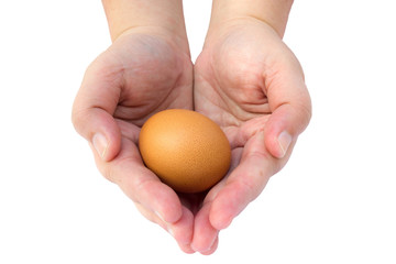 Egg in woman hands with white isolate background. Food ingredient.