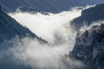 CANYON OF THE GORGES DU TARN OBSCURED BY CLOUDS