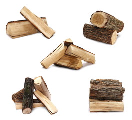 Set oak stump, log fire wood isolated on white background with clipping path