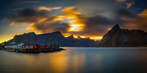 Wall Mural - Sunset above mount Olstind and the village of Hamnoy in Norway
