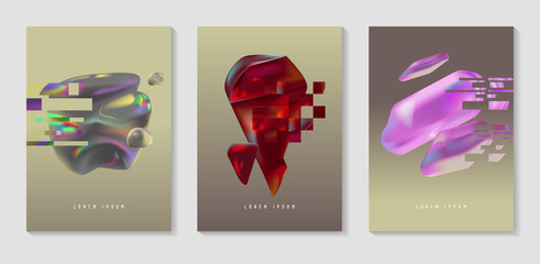 Posters, Covers with Glitch Effect and Bauhaus Fluid Shapes. Abstract Futuristic Hipster Design Set for Placard, Banner, Flyers. Vector illustration