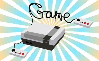 Black and white retro hipster rectangular volumetric vintage game console and the inscription game written by black wires with two joys and buttons on a background of blue rays. Vector illustration