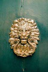 decorative golden lion at the door, vintage object on green door