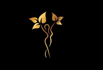 natural beauty lifestyle logo in gold color