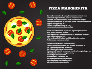 Pizza Margherita Top View Flat Style Recipe Copy Space