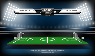 Football or soccer playing field with infographic elements. Sport Game. Football stadium spotlight and scoreboard background vector illustration