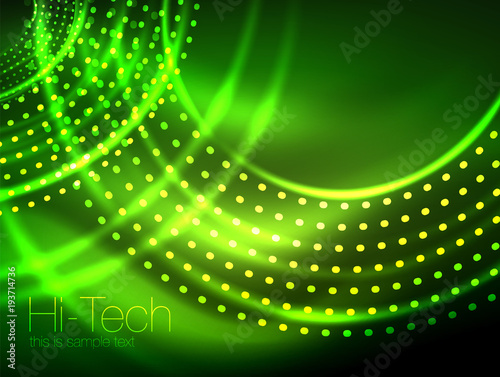 magic neon circle shape abstract background shiny light effect