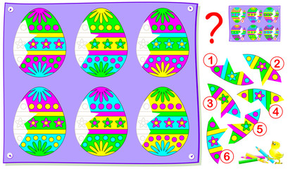 Educational page for young children. Need to find broken pieces of eggs and draw them in correct places. Logic puzzle game. Vector cartoon image.