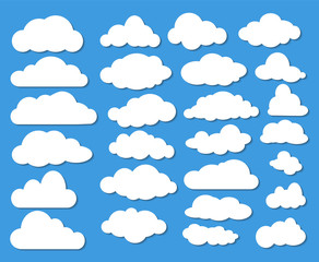 Set of Many White Clouds with Shadow on Blue Sky. Stock Vector Illustration