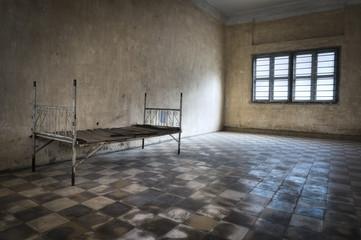Une chambre de torture khmer rouge dans l'ancienne prison de tuol sleng à Phnom Penh