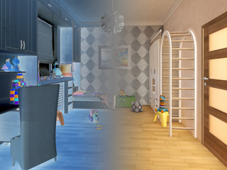 Render children room with striped bed and bookshelves. 3d illustration