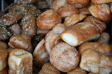 Different kinds of bread on a stall, Carmel market in Tel Aviv