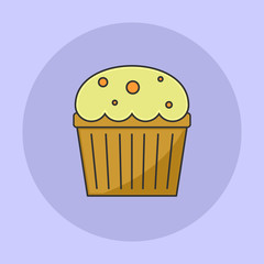 Cheese Cup Cake Flat Icon