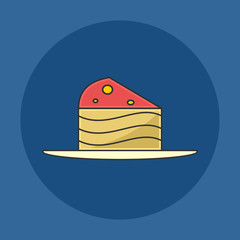 Strawberry Cake Slice Flat Icon
