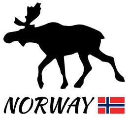 Elk with flag of norway