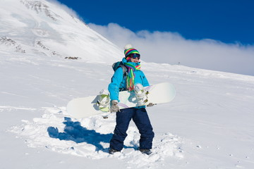 Woman, snowboard winter, rides, Switzerland