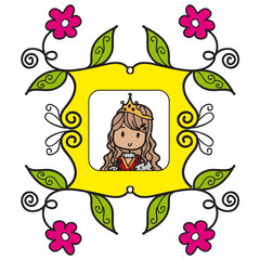 Doodle style queen into a yellow frame with pink flowers and green leaves