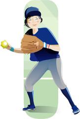 Softball girl player