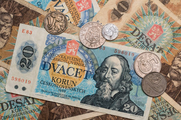 Vintage currency (Czechoslovakian banknotes and coins)
