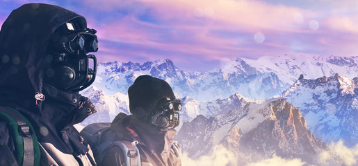 robot climber on mountains
