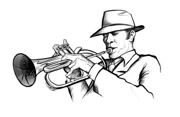 Sticker - drawing of a musician playing trumpet