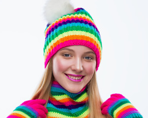 Face, smile, hat, scarf, gloves, white background