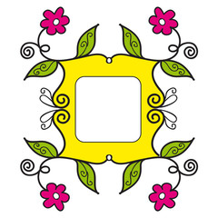 Yellow frame with pink flowers and green leaves