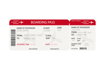 Airline ticket.  Boarding pass with airplane silhouette on white background. Vector
