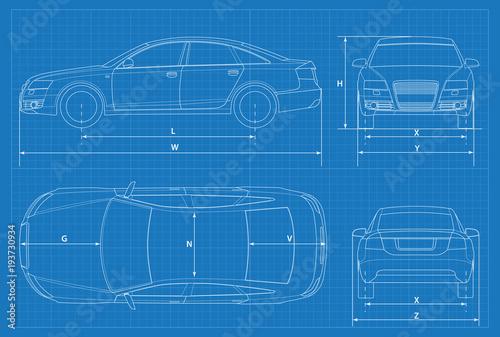 Car schematic or car blueprint vector illustration sedan car in car schematic or car blueprint vector illustration sedan car in outline business sedan malvernweather Gallery