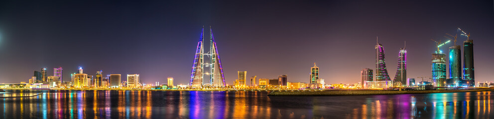 Skyline of Manama dominated by the World Trade Center Building. Bahrain