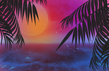 Background palms, sunset, sea, tropical leaves