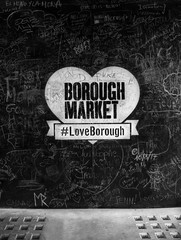Wall on Borough market with the hash #LoveBorough in London
