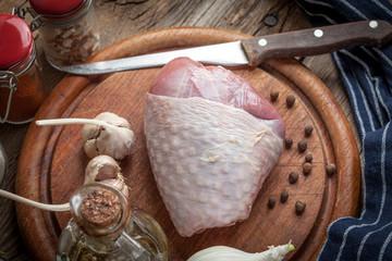 Raw turkey legs on cutting board.