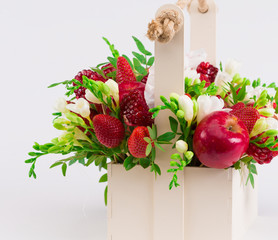 Flowers, fruit bouquet, white isolated, apples, garnet, strawberry, freesia