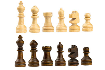 wooden chess king, queen, bishop, knight, castle, pawn isolated on white background