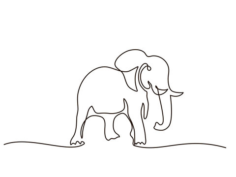 Continuous line drawing. Elephant walking symbol. Logo of the elephant. Vector illustration