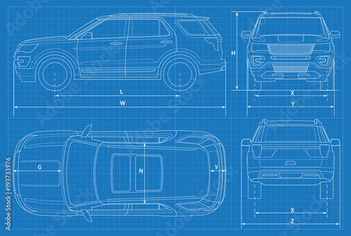 Off road car schematic or suv car blueprint vector illustration off road car schematic or suv car blueprint vector illustration off road vehicle malvernweather Gallery