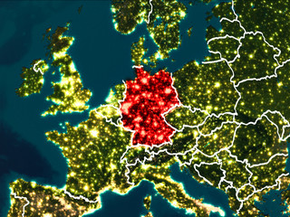 Map of Germany at night