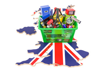 Map of the United Kingdom with shopping basket full of home and kitchen appliances, 3D rendering